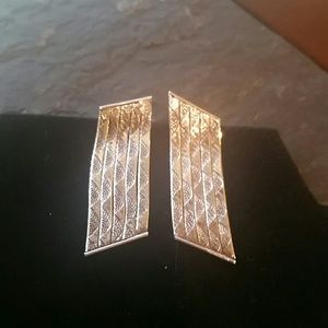 Beautiful tri-colored sterling silver earrings